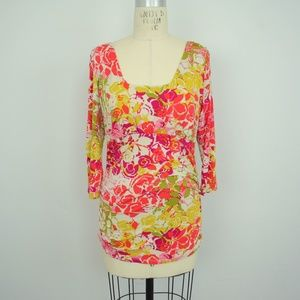 CAbi Ruched Sides Floral Top Style #308